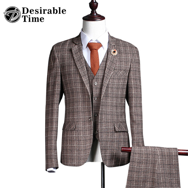 Men Brown Plaid Suit Custom Made S-3XL 2017 New Fashion Brand Slim Fit Wedding Suits For Men DT410