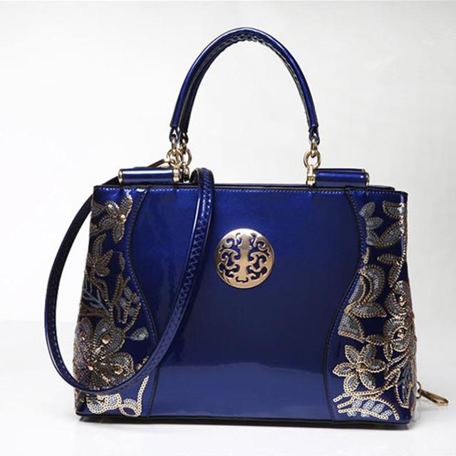 2017 patent leather women handbag brand shoulder bag luxury fashion tote Clutch Sequins design patent diamond messenger bag Q30Y