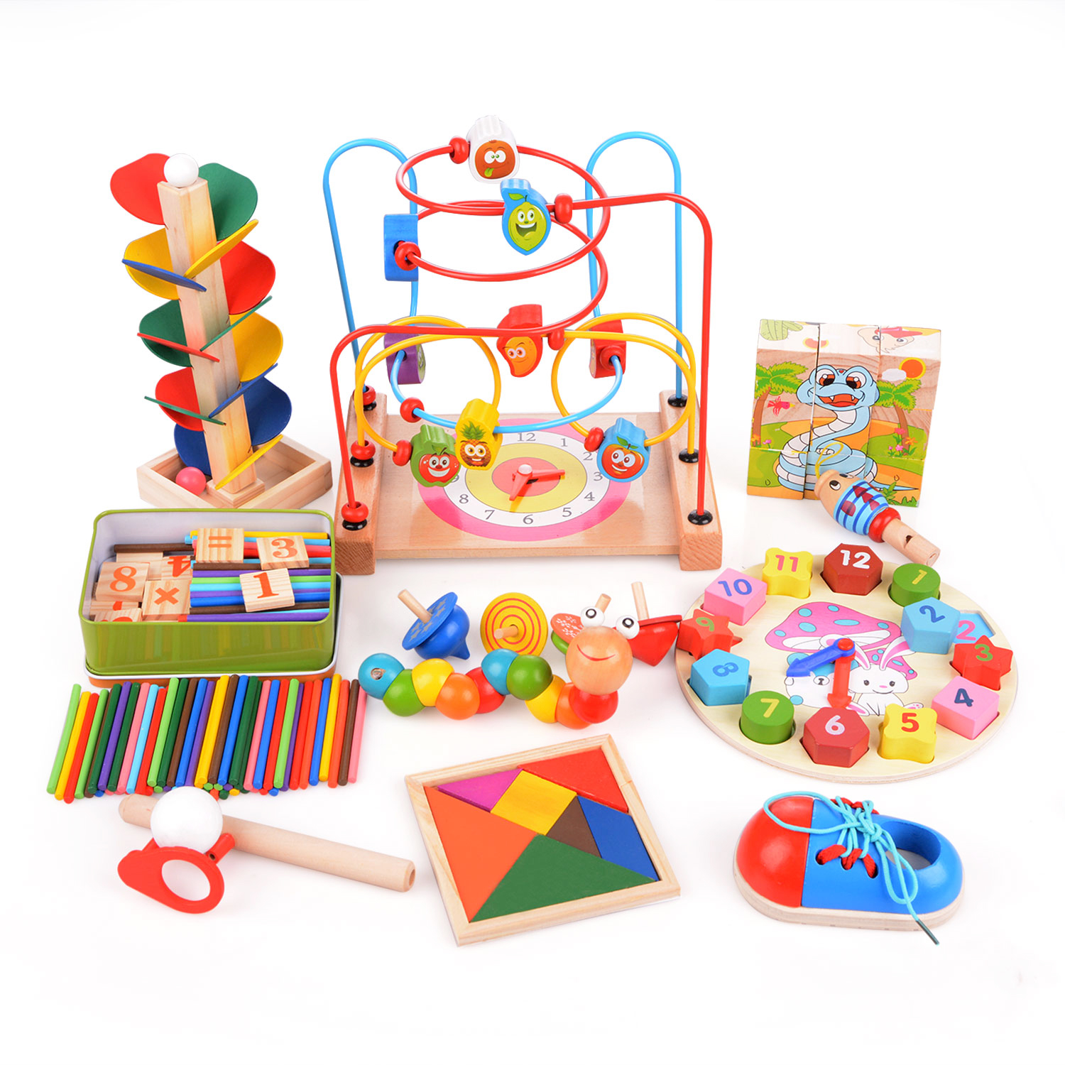 Child Early Educational Toys14pcs set Wooden Toys Three Dimensional Jigsaw Round Circles Bead Wire Maze Roller