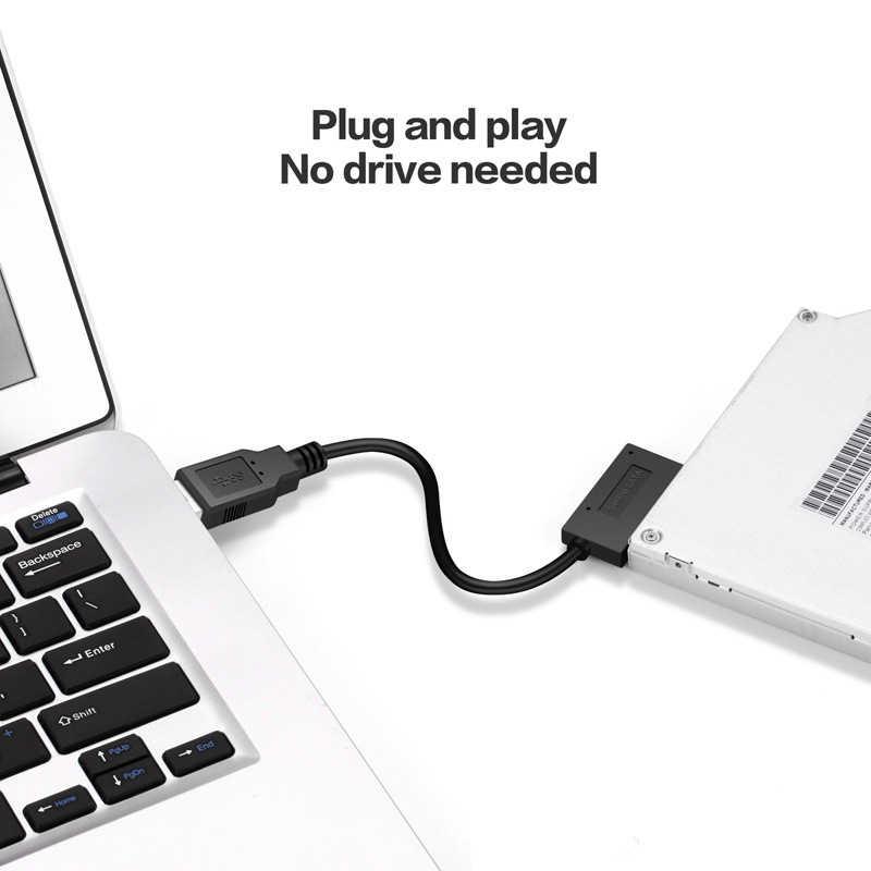 USB 2,0 a Mini Sata II 7 + 6 13Pin Adaptador convertidor Cable para ordenador portátil CD/DVD ROM convertidor de unidad delgada HDD Caddy