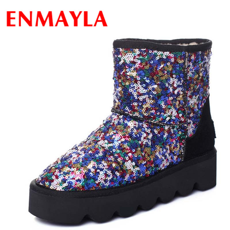 ENMAYLA Sexy Red Shoes Woman Warm Winter Snow Boots Flats Shoes Size 34-43 Round Toe Ankle Boots for Women Short Slip-on Boots enmayla ankle boots for women low heels autumn and winter boots shoes woman large size 34 43 round toe motorcycle boots
