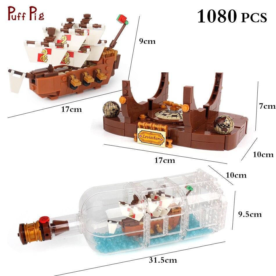1080Pcs Creative Ideas Pirates Of The Caribbean Ship in a Bottle Building Block Compatible Legoed Technic Bricks Kids Toy Friend