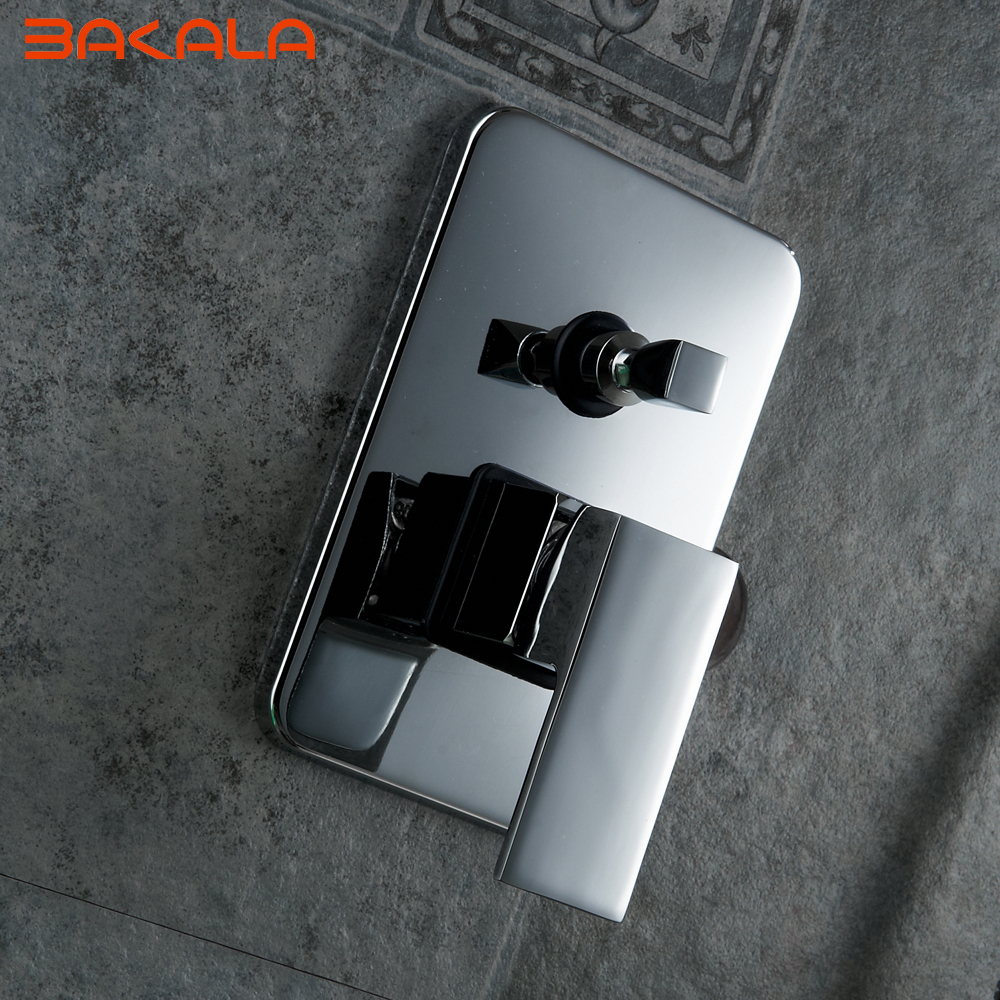 Single Handle Square Shape Solid Brass Wall Mount Shower Mixer Control Valve and Shower Faucet BR