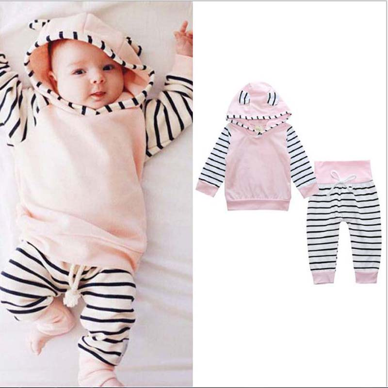 casual baby clothes Long sleeve stripe hoodie+pants clothes set 2pcs children clothing cotton girls outfits kids boy clothes
