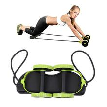 New Sport Core Double AB Roller Wheel Fitness Abdominal Exercises Equipment Mute Pull Rope Waist Slimming Trainer At Home Gym