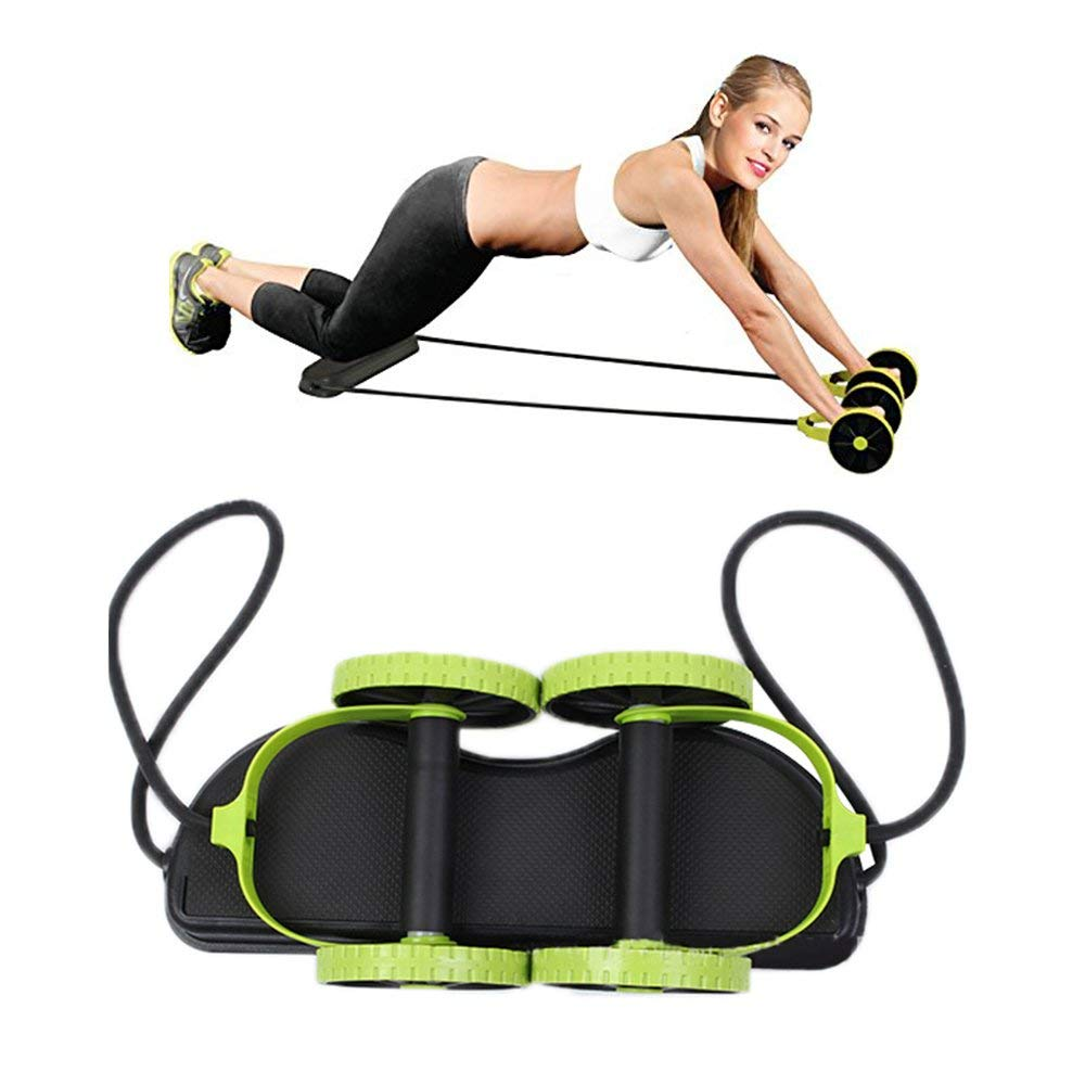 New Sport Core Double AB Roller Wheel Fitness Abdominal Exercises Equipment Mute Pull Rope Waist Slimming Trainer At Home Gym image