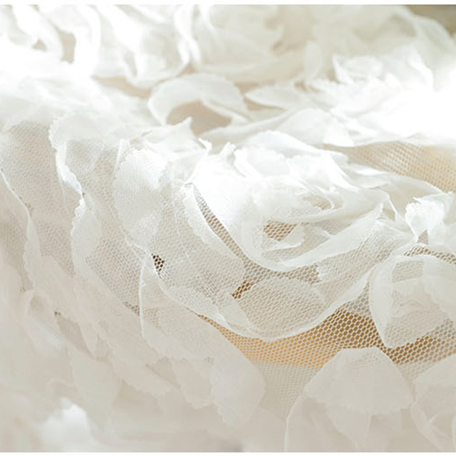 Embroidered rose voile sheer white