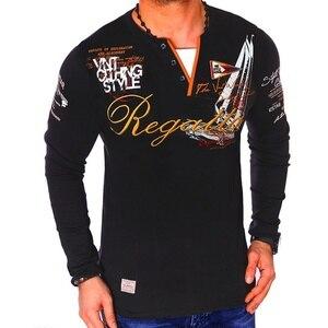 Image 2 - ZOGAA marque décontracté Polos hommes 2019 mode imprimé sweat shirt Slim Fit à manches longues Polos pour homme vêtements top t Shirts