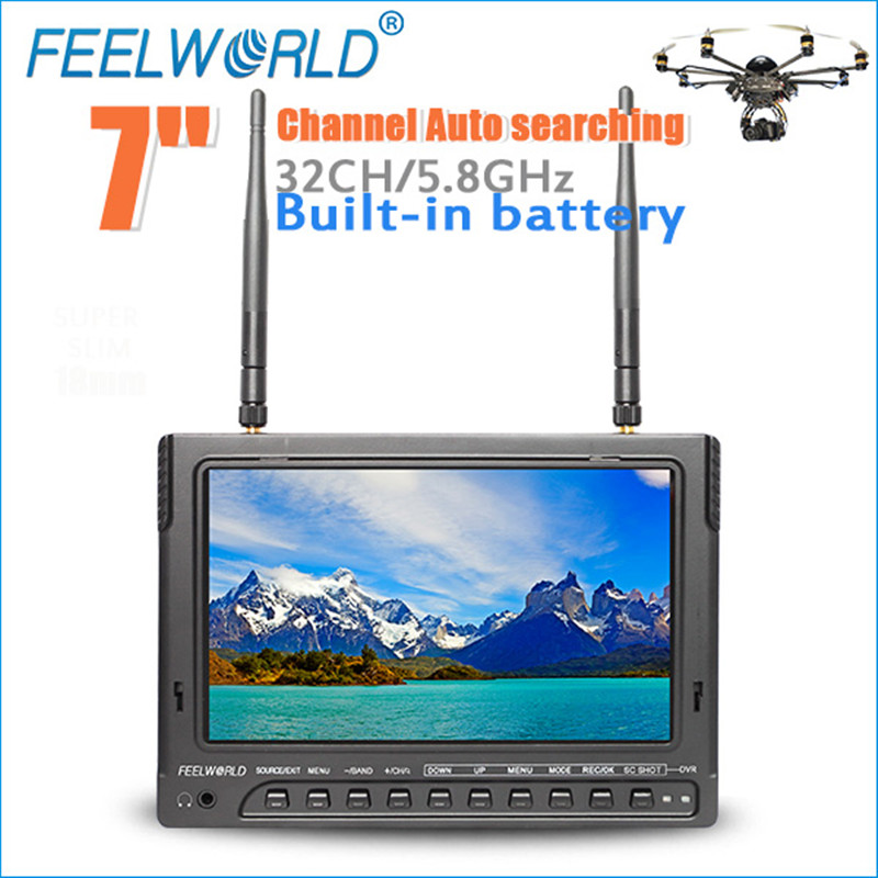 Feelworld 7 Inch IPS 1024x600 FPV Monitor for Drone UAV with Built-in Battery Dual 5.8G 40CH Diversity Receiver with DVR PVR732