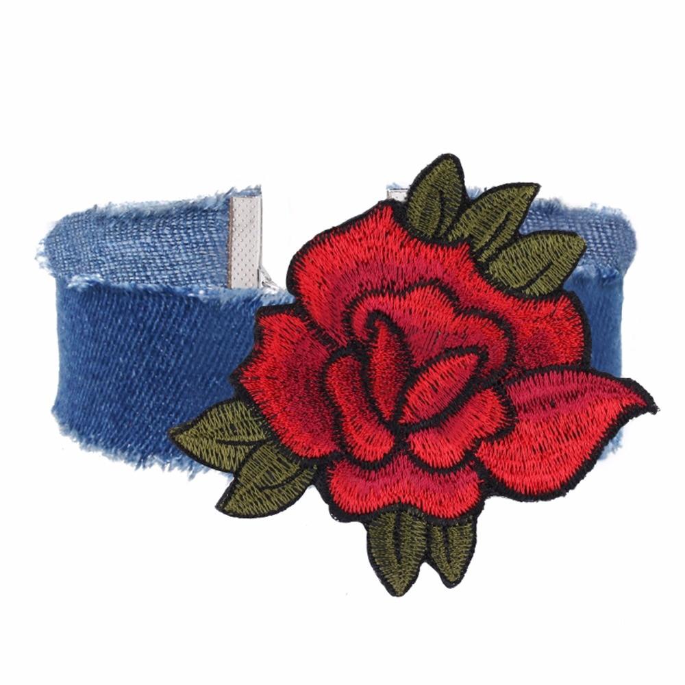 Új divat női farmer rózsa chokers hímzés gallér nyakláncok - Divatékszer