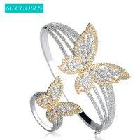 MECHOSEN Elegant Butterfly Bracelet Bangle Ring Set Micro Paved Zirconia Women Wedding Party Jewelry Set Hand Finger Accessories