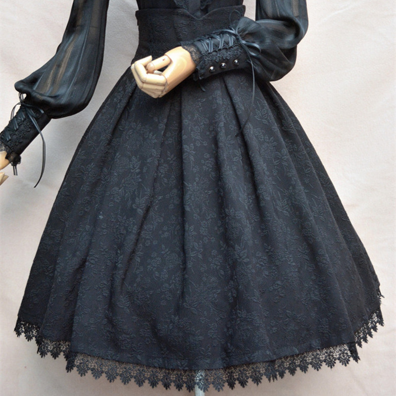 Women Classic Lolita Skirt Vintage Style Retro Gothic Darkness Lace Up High Waist A Line Chapel
