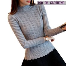 OHCLOTHIN 2017 new Fashion half Korean women knitted sweater slim petal collar shirt Elastic Bottoming Turtleneck Twist Pullover