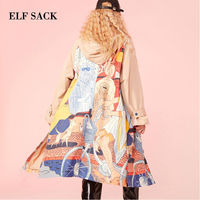 ELF SACK Autumn New Woman Trench Coat Cotton Casual Full Hooded Wide waisted Women Trench Coat Zipper Print Loose Femme Coat