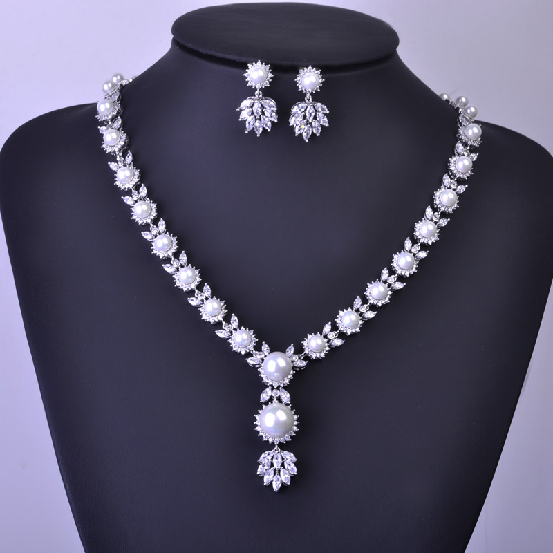 Madrry High Quality Simulated-pearl Jewelry Sets Necklace Earrings Bridal Wedding Schmuck African Beads Zircoina Pendant Brincos 1