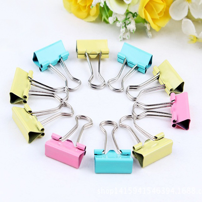 30pcs Colorful Metal Binder Clips 15mm Notes Letter Paper