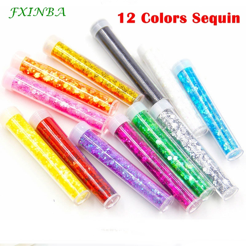 FXINBA 12 Colors Sequin For Slime Supplies/Nails Art Tips Glitter Clay Sprinkles Fluffy Clear Slimes Supplies Toys Lizun DIY Box