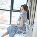 Nuevo 2016 verano ropa de Las Mujeres vestido de la manera de la raya cultiva su demostración de la moralidad delgada solapas de la camisa de manga corta vestido