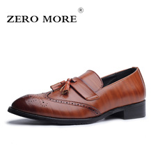 hot deal buy zero more tassel brogue mens shoes casual big sizes pointed toe slip on shoes men loafers formal solid men shoes luxury 2018