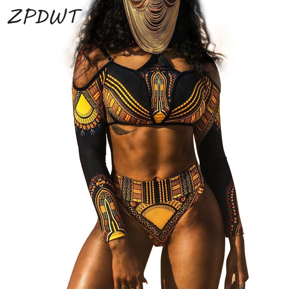 ZPDWT New High Waist Swimsuit Two Piece Bathing Suit Women African Print Long Sleeves Swimwear Cut Out Beach Tribal Swim Wear yellow lace up design floral print off the shoulder long sleeves two piece outfits