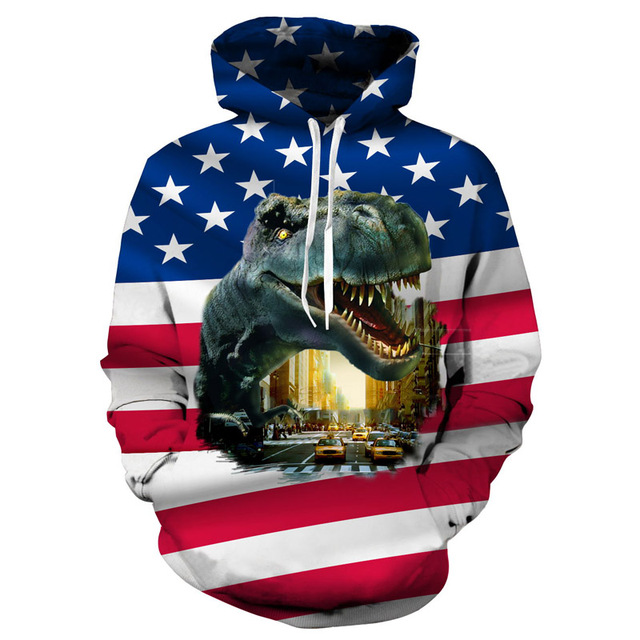 3864182af Flag Dinosaur 3D Print Jacket Men/women Streetwear Hoodies Sweatshirt Boy  Autumn Clothes Cap Tops