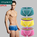 IYUNYI 3Pcs\lot Men's Underwear Fashion Cotton Men's U Convex Small Boxers Shorts High Quality Mid-rise Solid Boxers Shorts