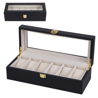 Top Brand Luxury Watch Boxes 6 Slots Black MDF Packaging Collection Box Rectangle Storage Case Boxes for Expensive Watch Display