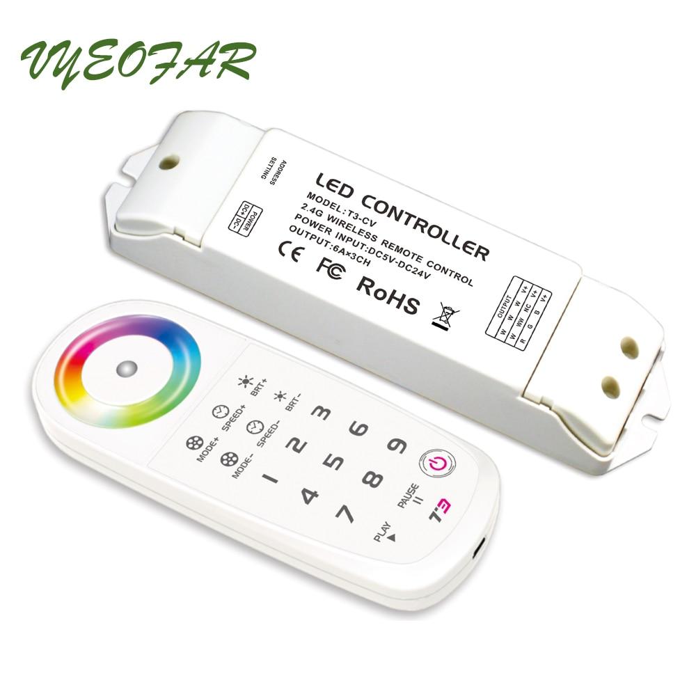 ltech LED RGB Strip Light Controller 12V 24V 6A*3CH 18A 384W 2.4G RF Remote Wireless Sync/zone 18Key RGB Strip Controller ltech lt 403 6a dali led dimming driver dc12 24v input 6a 3ch max 18a output led controller for rgb led strip
