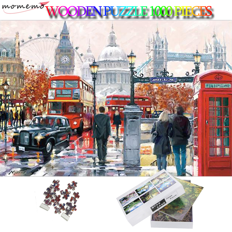 MOMEMO London Impression 1000 Pieces Adults Puzzles Attractive Landscape 50*75cm 2D Jigsaw Puzzle Fun Toys for Adults Teens Kids