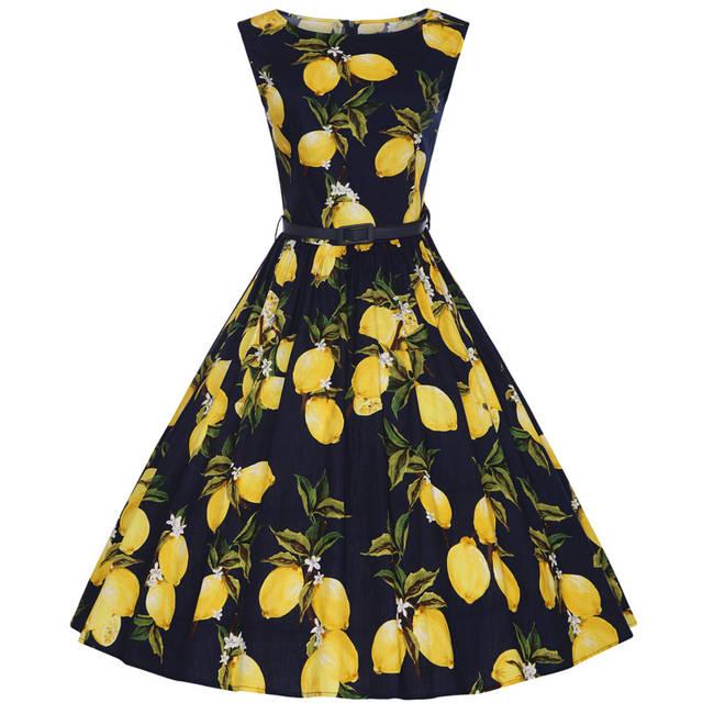 placeholder XS-4XL Cotton Lemon Printing Swing 1950s Dress 2018 New Fashion  Midi Length Vintage Tutu 970eb57e8f30
