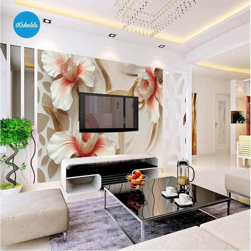 XCHELDA 3D Mural Wallpapers Custom Painting Embossed Flower Design Background Bedroom Living Room Wall Murals Papel De Parede custom 3d wall murals wallpaper luxury silk diamond home decoration wall art mural painting living room bedroom papel de parede