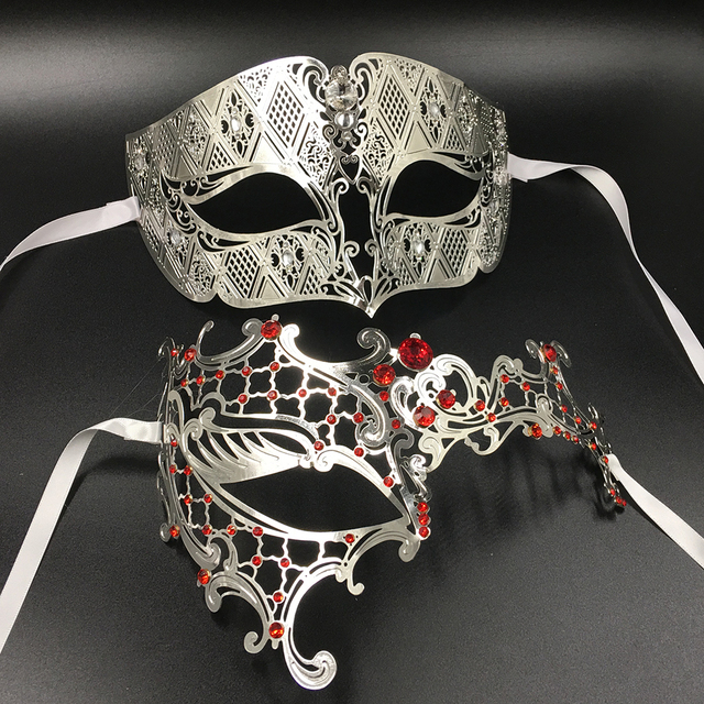 512274f80c25 Silver Phantom His Her One Eye Metal Venetian Masquerade Party Couple Masks  Set Gold Red Birthday Costume Eye Ball Mask Pair Lot