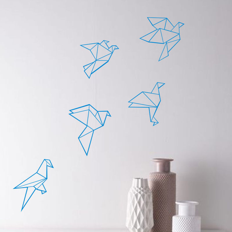 Us 7 19 20 Off Diy Geometric Patterns Flying Birds Vinyl Wall Stickers Origami Birds Art Mural Decals For Kids Room Home Decor Accessories In Wall