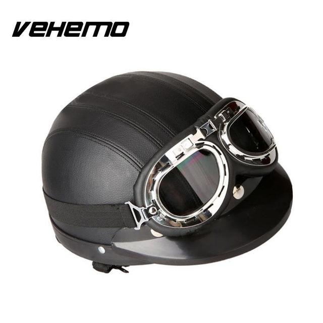 vehemo allemand style moto demi casque lunettes de s curit pour motard cruiser scooter dans. Black Bedroom Furniture Sets. Home Design Ideas
