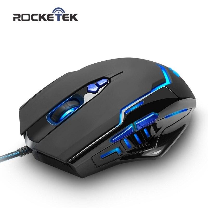 Rocketek high quality USB Gaming Mouse 3200 DPI 7 buttons ergonomic design for desktop computer accessories mouse gamer lol PC