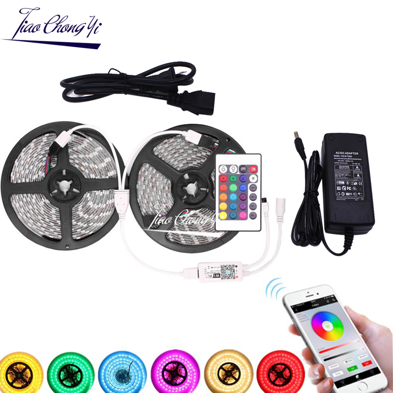 5M 10M 5050 RGB LED Strip DC12V 60LED/M Flexible Light Tape IP20/IP65 Waterproof  & 24key IR WiFi Controller With LED Power Kit