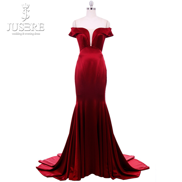 Jusere Exquisite Cutting Shape Off the Shoulder Empire Ruch Pleat Bottom Large Volume V Mermaid Burgundy Red Evening Dress 2018