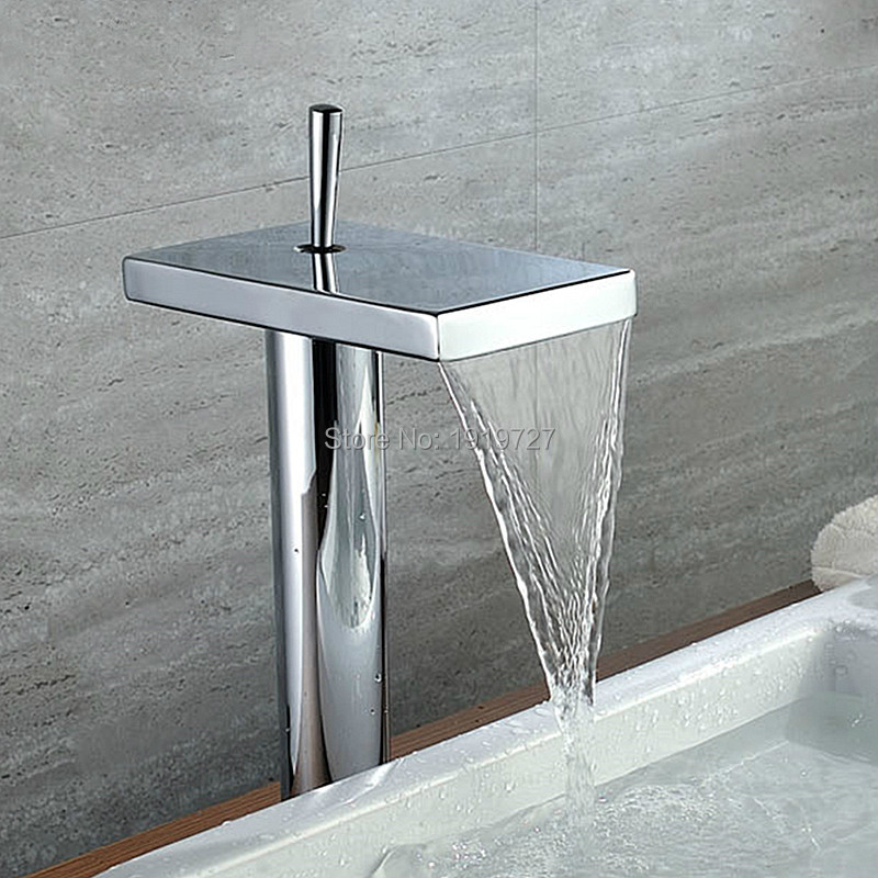 Newly Modern Style Solid Brass Hot And Cold Water Waterfall Spout Basin Mixer Tap Chrome Finish Bathroom Tall Vessel FaucetsNewly Modern Style Solid Brass Hot And Cold Water Waterfall Spout Basin Mixer Tap Chrome Finish Bathroom Tall Vessel Faucets