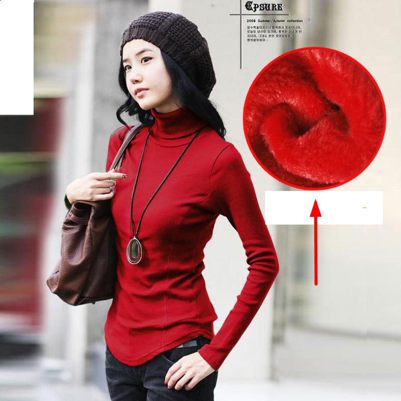 Slim interior Velvet Casual Thick Warm Fashion Women 39 s Autumn Winter Turtleneck Sweater Big Size solid color long sleeved 6 in Pullovers from Women 39 s Clothing