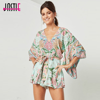Jastie Lotus Romper Peacock Floral Printed Kimono Playsuits Gypsy Style Boho Chic Women Rompers V Neck
