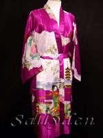 New Hot Pink Female Faux Silk Sleepwear Novelty Kimono Summer Lounge Charming Night Gown Printed Robe