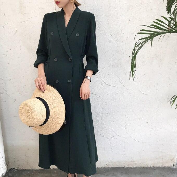 TVVOVVIN Women Blazer Jackets Retro Formal Jackets Double Breasted Blazer Long Coats Vintage Women 2019Autumn Ladies Jacket V975