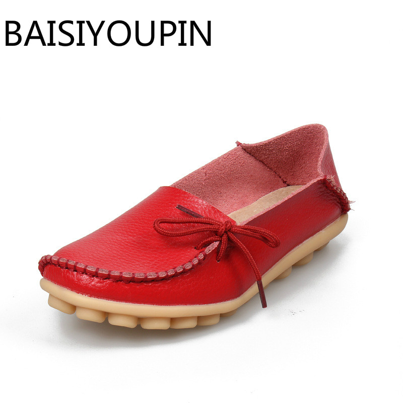 Ladies Leisure Flats Shoes Women Genuine Leather Shoes Moccasins Mother Loafers Casual Shoes Soft Driving Ballet Footwear Big 44(China)