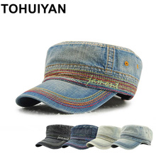 TOHUIYAN Military Style Cadet Army Cap Men Women Vintage Cotton Flat Top Caps Summer Autumn Brand Adjustable Peaked Visor Hats