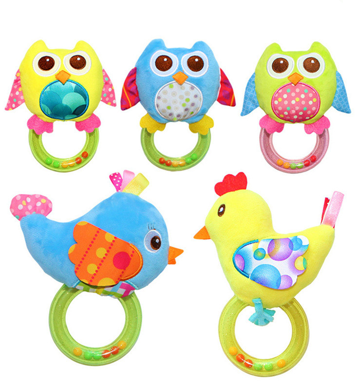 0-3 Y Baby Rattle Hand Bell Baby Toy 5 Style Owl Bird Chicken Animals Plush Toy Happy Monkey Toy Gift