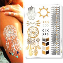 Style 26-50 Shiny Wedding Gold Temporary Tattoo Body Art Flash Tattoo Sticker , 21*15cm Waterproof Tatoo Henna Tatto Sex Product