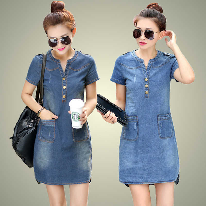 Plus Size 5XL Summer Style Denim Dresses Women V-Neck Short Sleeve Slim Jeans Dress With Pockets Vestidos Women Clothing