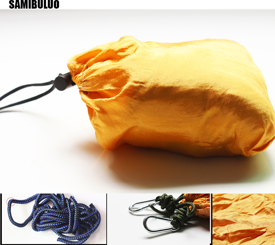 Image 3 - SAMIBULUO Camping Hammock Lightweight Parachute Portable Hamac for Hiking Travel Backpacking 20 Colors In Stock-in Hammocks from Furniture
