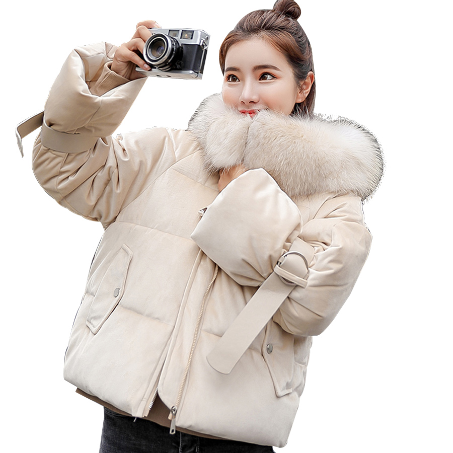Winter Coat Women 2018 Fashion Parka Thicken Short Jacket Women Fur Collar Cotton-padded Hooded Outwear Female
