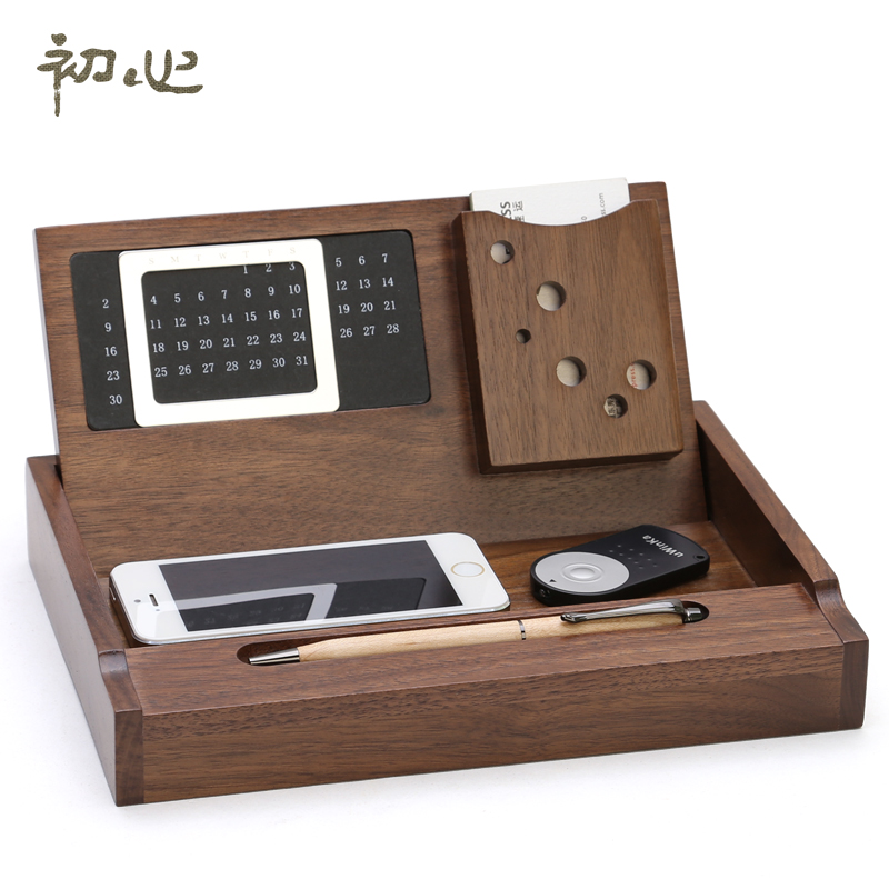 Luxury Office Storage Box Wooden Desktop Stationery Maple Organizer With Calendar Pen Loop